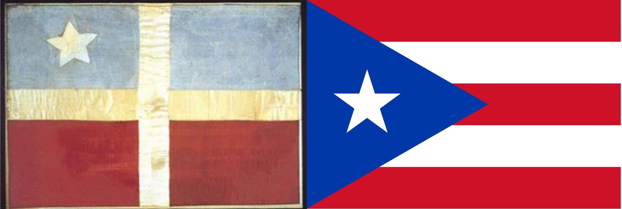 De vlag van de Grito de Lares en de huidige vlag