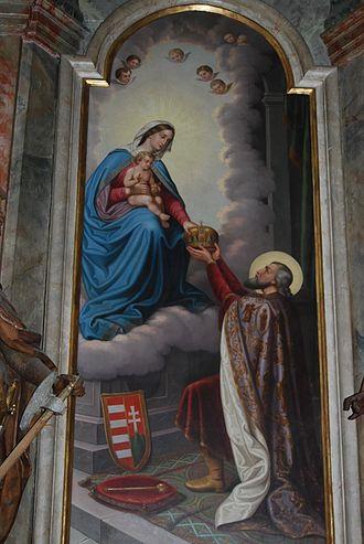 Koning Stefanus geeft zijn kroon aan Maria