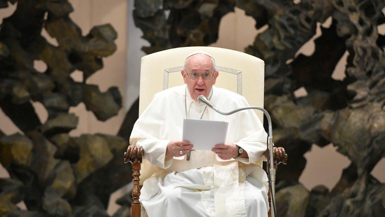 Paus Franciscus tijdens generale audiëntie