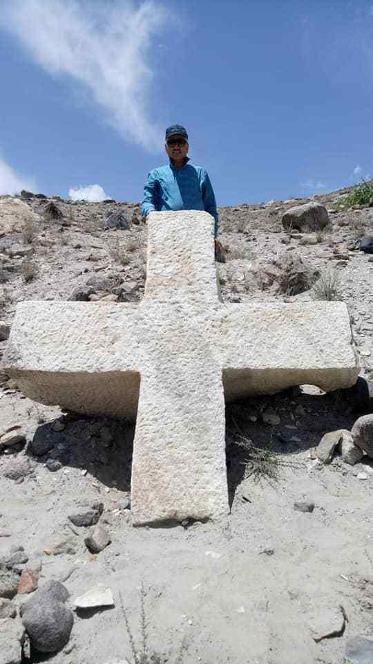 Een kruis uit de 9de à 10de eeuw in het Himalayageberghte
