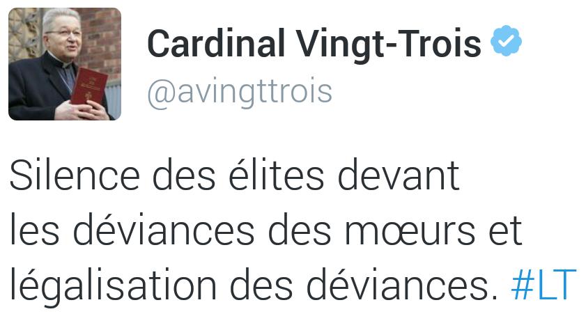 De stilte van de Franse elite over het verval van de zeden en de legalisering van ontsporingen.